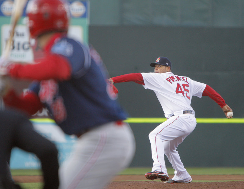 Stolmy Pimentel delivers a pitch during his first outing with the Sea Dogs this season. He allowed seven hits and two earned runs in five innings.