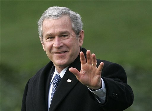 In this Jan. 25, 2007 file photo, President George W. Bush waves as he departs the White House in Washington for a trip to Missouri to speak on healthcare. Bush endorsed Republican Mitt Romney for president on Tuesday, May 15, 2012. (AP Photo/Ron Edmonds, File)