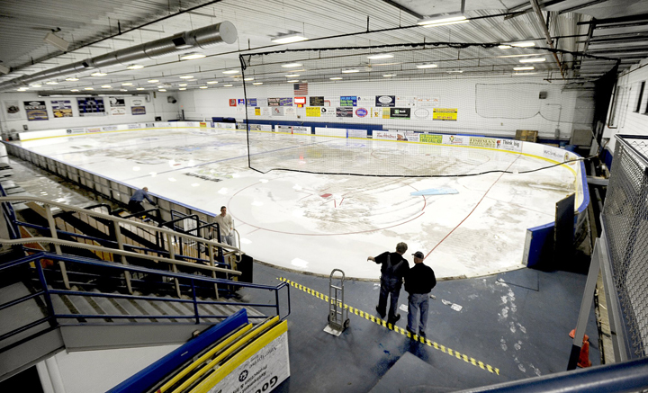 Staff at the Portland Ice Arena began melting the ice Sunday night in preparation for major repairs to the rink's ice-making systems this summer. Repairs are scheduled to begin this month at the Park Avenue site.