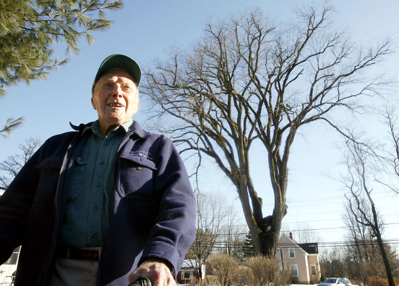 In this December 2009photo, Frank Knight, then 101, stands in front of an elm tree known as