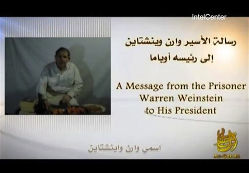 In an image provided by IntelCenter a still from the video released Sunday by al-Qaida of American hostage Warren Weinstein Weinstein said said he will be killed unless President Barack Obama agrees to the militant group's demands. (AP Photo/IntelCenter)
