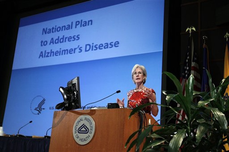 Health and Human Services Secretary Kathleen Sebelius speaks during the Alzheimer's Disease conference, Tuesday, May 15, 2012, at the National Institute of Health in Bethesda, Md. (AP Photo/Jose Luis Magana)