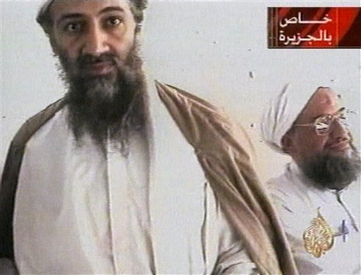 This image taken was taken from a Oct. 5, 2001, video broadcast by Qatar's Al-Jazeera televison, purporting to show al-Qaida leader Osama bin Laden and his top lieutenant, Egyptian Ayman al-Zawahiri. Al-Qaida's image was a top concern on Osama bin Laden's mind in the last months of his life.