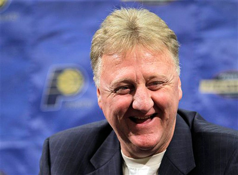 In this June 22, 2010 file photo, Indiana Pacers president Larry Bird talks about the NBA basketball team's prospects in the upcoming draft during a news conference in Indianapolis. Bird was voted the NBA's Executive of the Year on Wednesday, May 16, 2012, becoming the first person to win that award, plus the MVP and Coach of the Year honors. (AP Photo/Michael Conroy, File)