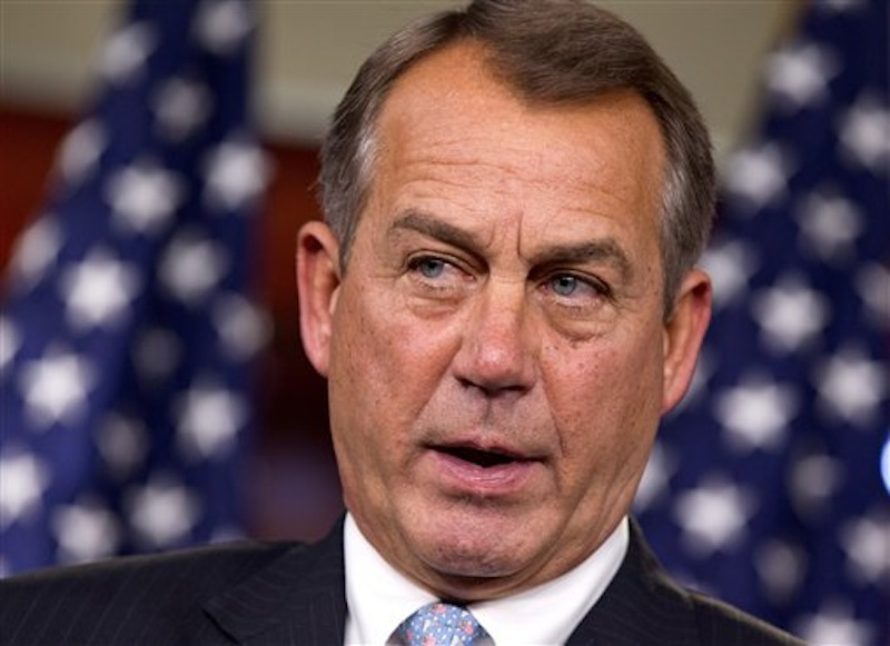 In this March 29, 2012 file photo, House Speaker John Boehner of Ohio speaks during a news conference on Capitol Hill in Washington. (AP Photo/J. Scott Applewhite, File)