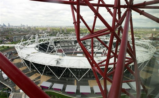 A view of the Olympic Stadium from the ArcelorMittal Orbit sculpture during the official unveiling at the Olympic Park in London today.