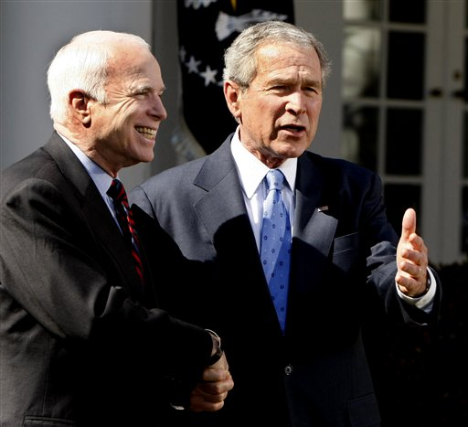 In this March 5, 2008 file photo, President George W. Bush and Republican nominee-in-waiting, Sen. John McCain, R-Ariz., shake hands in the Rose Garden of the White House in Washington. Expect Bush to stay far away from this year's presidential election. Mitt Romney's campaign doesn't foresee the 43rd president playing any substantive role in the race over the next six months and the GOP candidate's aides are carefully weighing how much the former president should be involved in this summer's GOP convention _ and for good reason. The Bush fatigue that was a drag on GOP nominee John McCain four years ago clearly still lingers, even among Republicans. (AP Photo/Gerald Herbert, File)