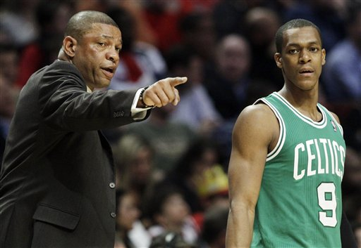 Boston Celtics head coach Doc Rivers talks to guard Rajon Rondo during a game against the Chicago Bulls in Chicago in early April.
