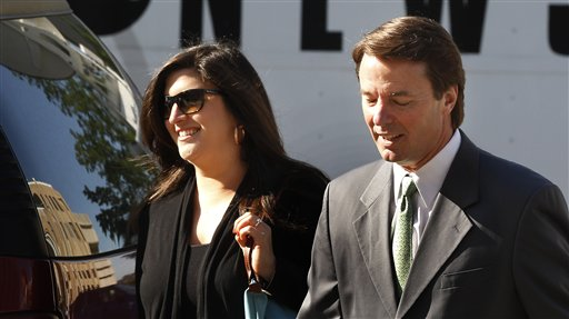 Former Senator and presidential candidate John Edwards and his daughter Cate Edwards enter the Federal Courthouse in Greensboro, N.C. on Thursday.