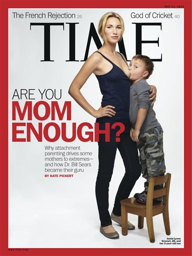 This image provided by Time magazine shows the cover of the May 21, 2012 issue with a photograph of Jamie Lynne Grumet, 26, breastfeeding her 3-year-old son for a story on