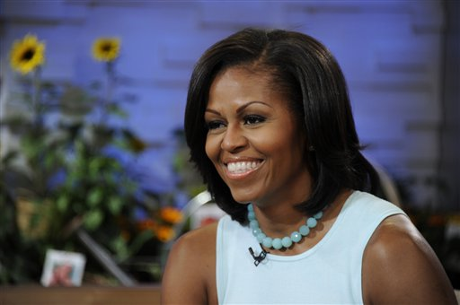 This image released by ABC shows first lady Michelle Obama on the morning program