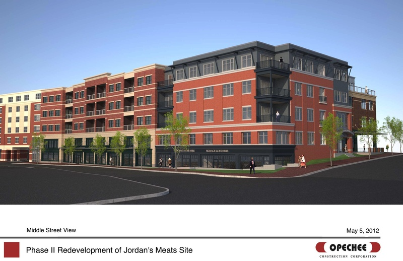 This is the Middle Street view of the mixed-use building proposed for the former Jordan's Meats site.