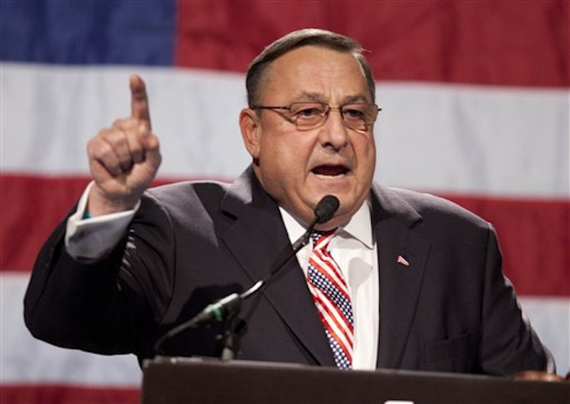 In this file photo made Sunday, May 6, 2012, Gov. Paul LePage speaks at the Maine GOP convention. In his effort to cut state spending, Gov. LePage proposed revamping the stateís Medicaid program. Supporters of the cuts say spending is unsustainable and that Maine provides Medicaid coverage to 35 percent more of the population that the national average. (AP Photo/Robert F. Bukaty, File)