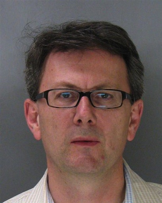This is an undated booking photo, provided by the Mountain View Police, of Thomas Langenbach, taken in Mountain View, Calif. Langenbach, a Silicon Valley technology executive, is facing charges after authorities say he changed the bar codes on Lego toys at a Target store to buy them for less. (AP Photo/Mountain View Police)