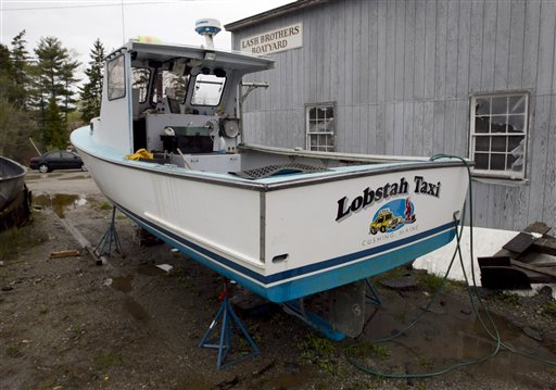 One of the two lobster boats recently sunk by vandals is seen in a boatyard in Friendship.