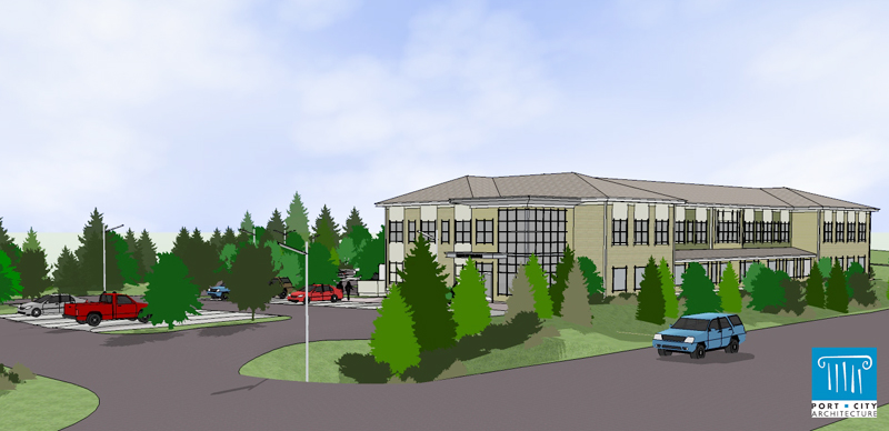 An artist's rendering of proposed new headquarters for Maine Standards Co.