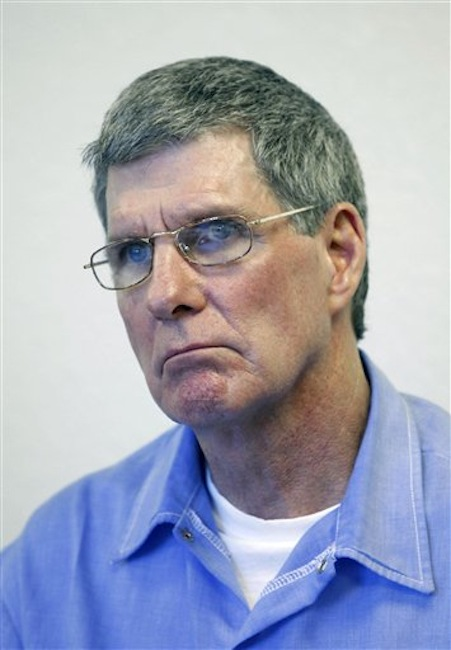This Nov. 16, 2011 file photo shows Charles Tex Watson during a parole hearing at Mule Creek State Prison in Ione, Calif. A Texas judge is expected o decide Tuesday, May 29, 2012, whether eight hours of audio recordings of conversations between a the former Manson family member and his attorney should be given to Los Angeles police. Watson is serving a life sentence for his role in the 1969 Tate-La Bianca murders. (AP Photo/Rich Pedroncelli, File)
