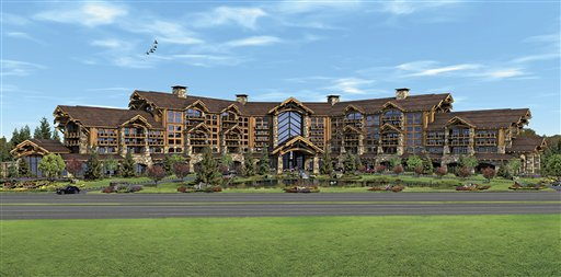 This image released Friday, March 2, 2012 by Wynn Resorts shows an artist's rendering of a proposed resort casino in Foxborough, Mass. Due to objections from the townspeople, The developers have suspended plans to move forward with the casino. (AP Photo/Wynn Resorts)