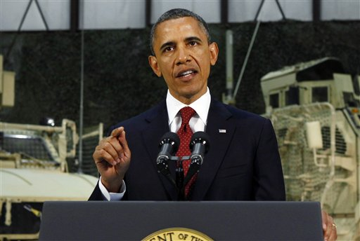 President Barack Obama delivers a speech from Bagram Air Field, Afghanistan, on Tuesday.