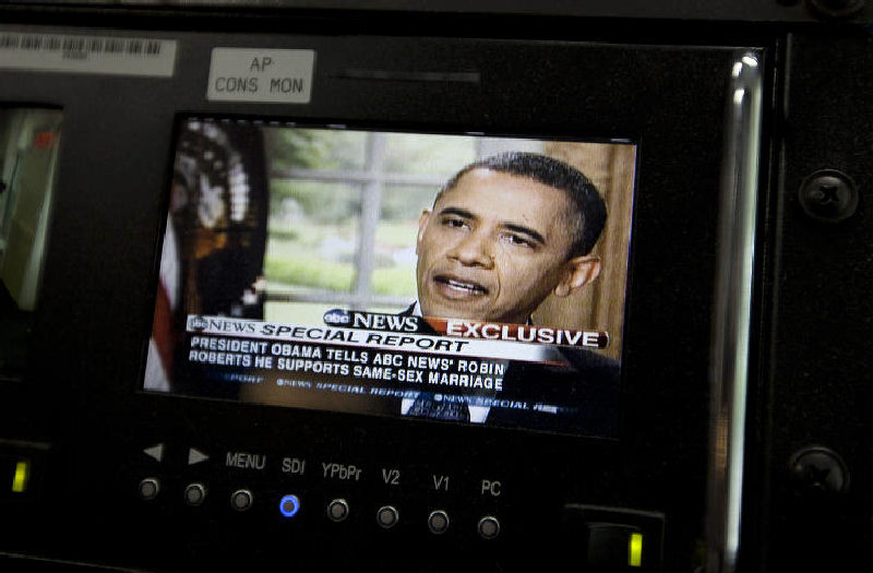 President Barack Obama is seen on a monitor in the White House briefing room in Washington. Obama told an ABC interviewer that he supports gay marriage. The announcement was the first by a sitting president.