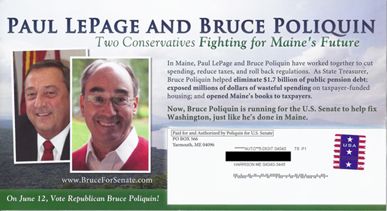 The Poliquin campaign sent this mailer to Republicans recently.