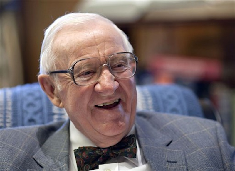 In this Sept. 28, 2011 file photo, retired Supreme Court Justice John Paul Stevens, 91, works in his office at the Supreme Court in Washington. President Barack Obama and first lady Michelle Obama will honor a diverse cross-section of political and cultural icons ó including former Secretary of State Madeleine Albright, astronaut John Glenn, basketball coach Pat Summitt and rock legend Bob Dylan ó with the Medal of Freedom at a White House ceremony Tuesday. The Medal of Freedom is the nation's highest civilian honor. It's presented to individuals who have made especially meritorious contributions to the national interests of the United States, to world peace or to other significant endeavors. (AP Photo/J. Scott Applewhite, File)