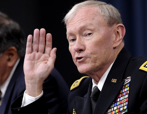 Joint Chiefs Chairman Gen. Martin E. Dempsey speaks during a briefing at the Pentagon today.