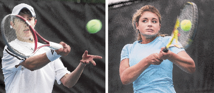 Jordan Friedland, left, of Lincoln Academy beat the top two seeds – Patrick Ordway of Waynflete and Justin Brogan of Falmouth – on his way to the boys' singles state championship Monday. Maisie Silverman, right, of Brunswick was tested by both of her opponents Monday but emerged with the state championship. Silverman, the No. 1 seed, took the last two games to defeat second-seeded Annie Criscione of Falmouth in the final, 6-3, 4-6, 6-4.