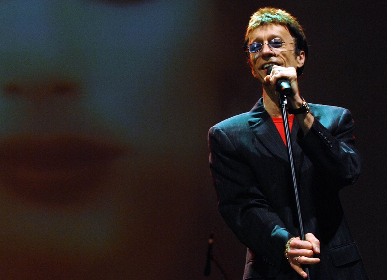 Robin Gibb performs at the Dubai International Jazz Festival in Dubai Media City Amphitheater, Dubai, United Arab Emirates, in 2008. Gibb died Sunday at the age of 62.