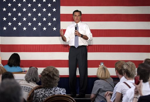 Republican presidential candidate Mitt Romney speaks at a campaign stop in Omaha, Neb., on Thursday.