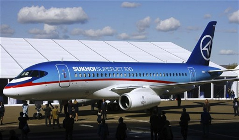 In this Sept. 26, 2007 file photo, a Sukhoi Superjet-100 is displayed outside the aviation factory in Komsomolsk-on-Amur, Russia, about 6200 kilometers (3,900 miles) east of Moscow. A new Sukhoi Superjet-100 carrying 50 people went missing just south of the Indonesian capital of Jakarta while flying over mountains Wednesday, May 9, 2012, during a demonstration flight for potential buyers and journalists, officials said. (AP Photo/RIA-Novosti, Ruslan Krivobok, File) NO SALES; NO ARCHIVES; EDITORIAL USE ONLY