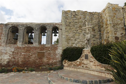 Speakers are hidden behind the statue at the Mission San Juan Capistrano to play the cliff swallows' mating song in the hopes of attracting them back to roost.