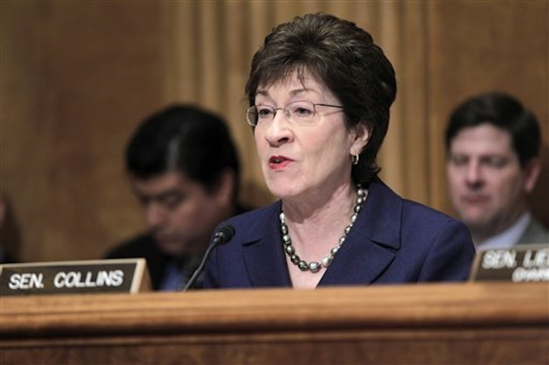 In this March 30, 2011 file photo, Senate Homeland Security and Governmental Affairs Committee ranking Republican Sen. Susan Collins, R-Maine speaks on Capitol Hill in Washington. The prostitution scandal is wider than previously believed, Collins says. (AP Photo/J. Scott Applewhite, File)
