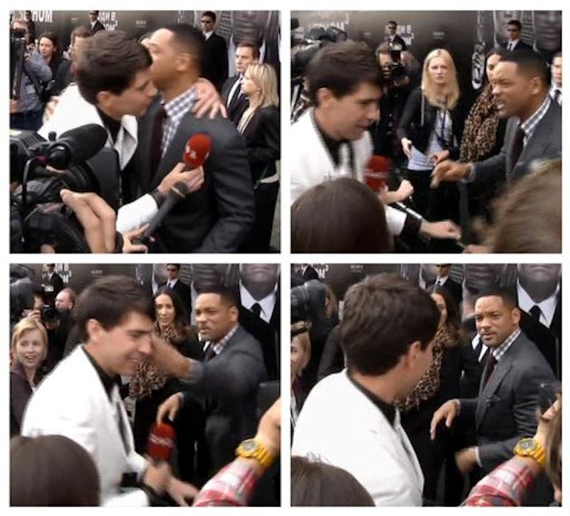 In this photo combo from video images taken from AP video, top left image, U.S. actor Will Smith, center right, is embraced by reporter Vitalii Sediuk, white suit, from the Ukrainian television channel 1+1, on the red carpet before the premiere of