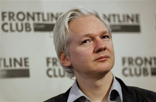 Julian Assange, founder of WikiLeaks, listens at a press conference in London in this Feb. 27, 2012, photo.