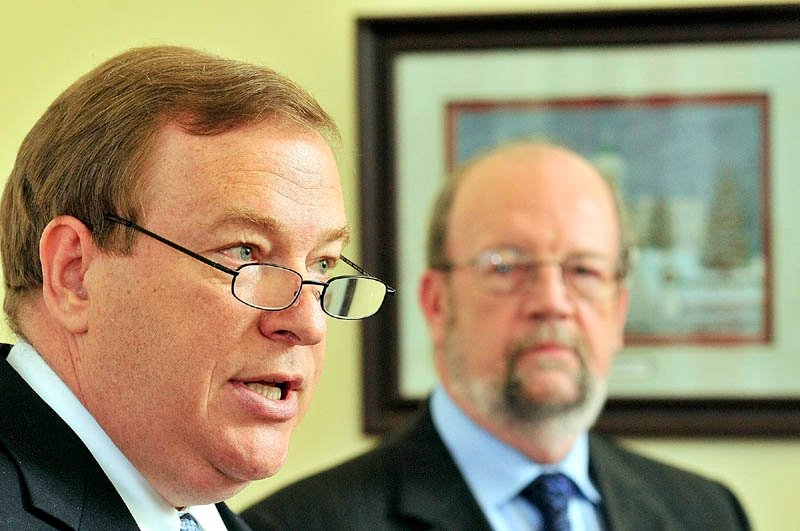 GOP leaders Senate President Kevin Raye, left, and Speaker of the House Robert Nutting announce a plan to close an $83 million gap at the Department of Health and Human Services through June 2013.