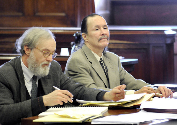 Ernest Weidul, right, with his attorney Thomas Connolly during a January court hearing in Portland. Weidul is charged with manslaughter in the death of Roger Downs Jr. in May 2010.