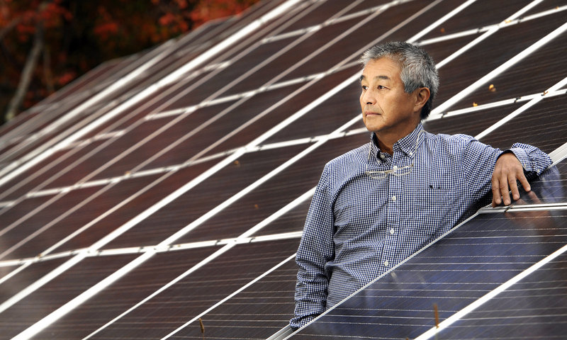 Naoto Inoue, owner of Solar Market in Arundel, Maine, installed 144 solar panels on his property. Subsidies in Connecticut are beginning to spur the use of solar panels by home owners.