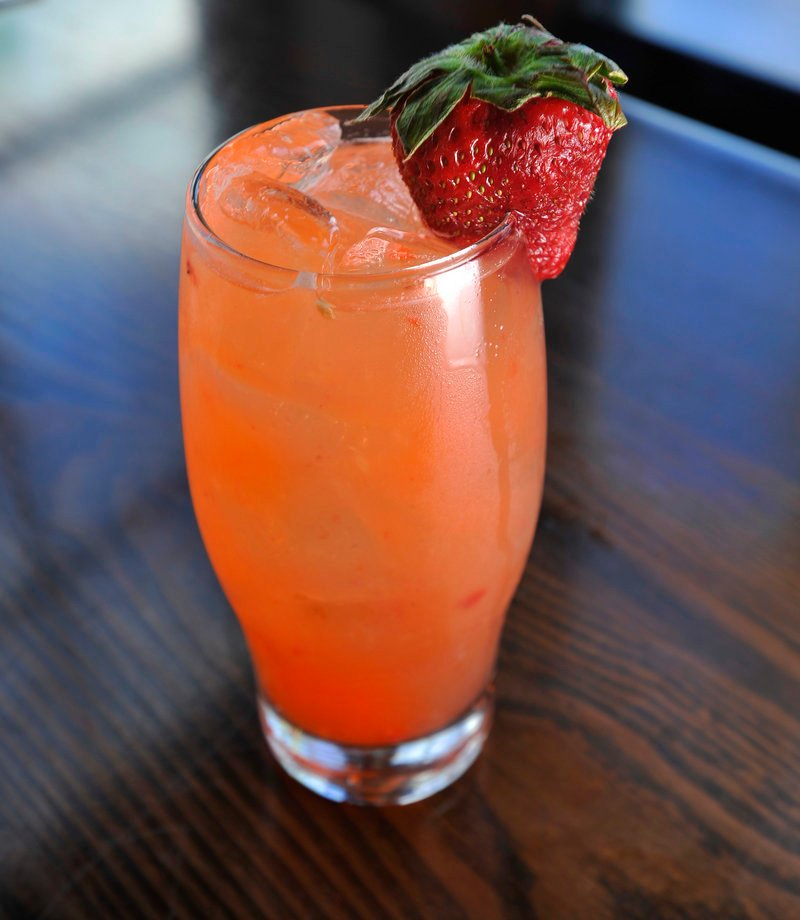 A Ramorita from Zapoteca, made with silver tequila, fresh muddled strawberries, jalapeno slices, orange liqueur, agave nectar and lime juice.