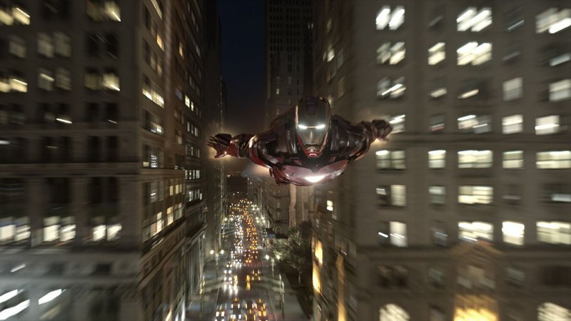 "Iron Man (Robert Downey Jr.) avoids traffic in ""The Avengers,"" which opens Friday."