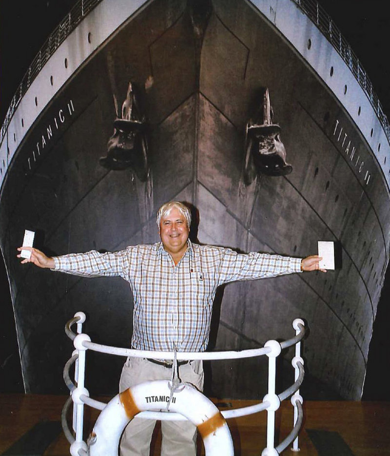 Australian billionaire Clive Palmer poses with an artist's impression of the Titanic ll at MGM Studios in Los Angeles.