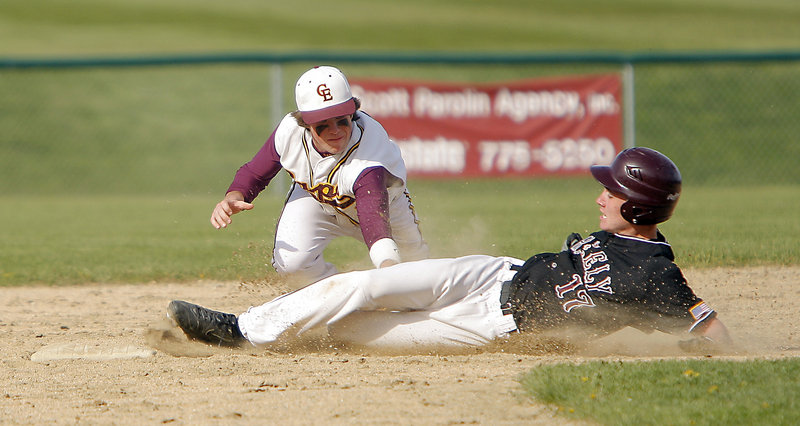 Sam Porter of Greely beats the tag of Charlie Laprade of Cape Elizabeth and is safe at second in Monday's baseball game at Cumberland.