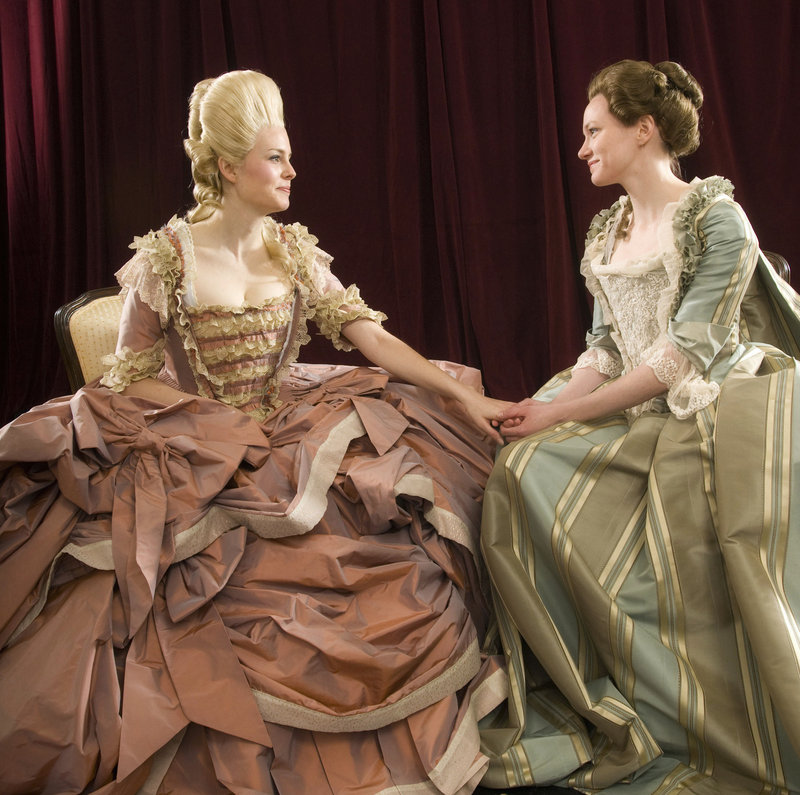 """Ellen Adair, left, and Caroline Hewitt in a scene from """"Marie Antoinette: The Color of Flesh"""" at Portland Stage."""