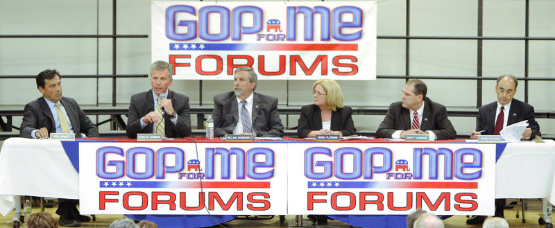 The Republican candidates for U.S. Senate appearing at the forum Wednesday night at Harriet Beecher Stowe Elementary School in Brunswick were, from left: Rick Bennett, Charlie Summers, William Schneider, Debra Plowman, Scott D'Amboise and Bruce Poliquin.