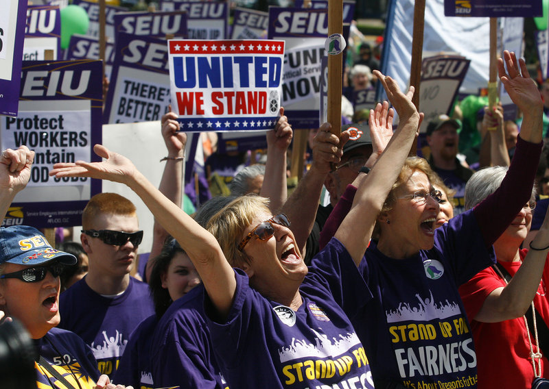 Cathy Williams, a care provider, chants with a crowd at a rally of Local 503 of Service Employees International Union in Salem, Ore., in 2011. Oregon is one of the top states in the country when it comes to union membership.