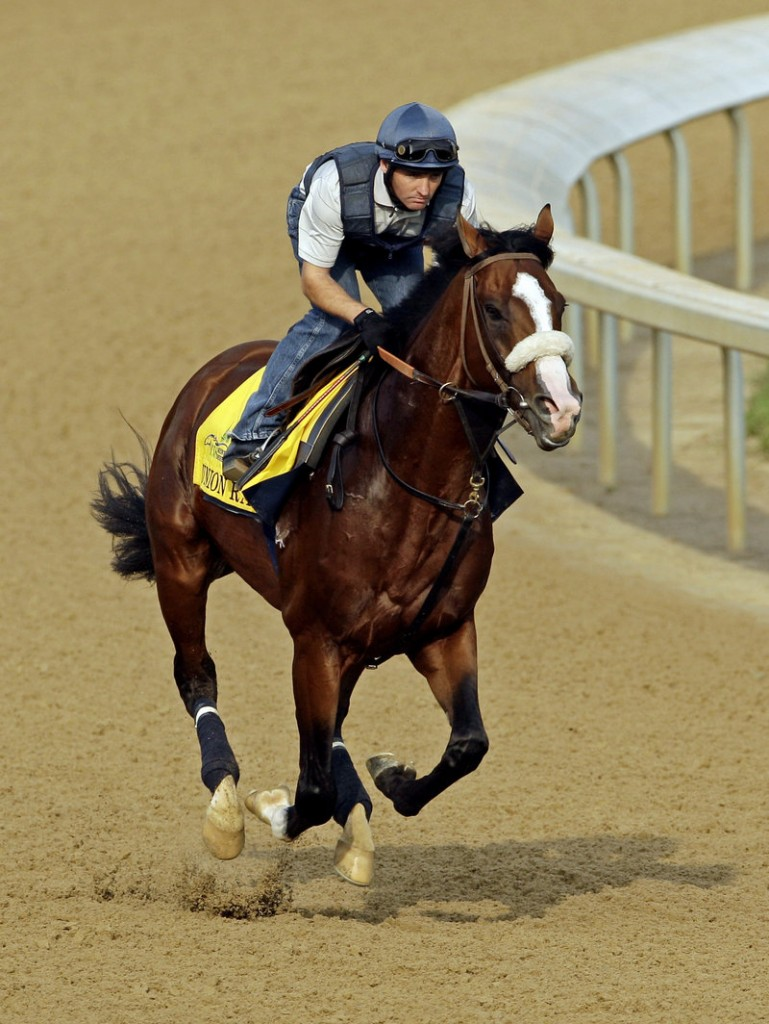 Peter Brette puts Union Rags through his paces during a workout at Churchill Downs on Thursday in preparation for today's Kentucky Derby.