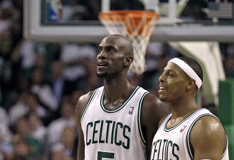 Kevin Garnett, left, and Paul Pierce have played large roles in Boston owning a 3-1 series lead over Atlanta.