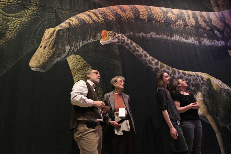 Visitors to the American Museum of Natural History in New York inspect a model of a 60-foot-long Mamenchisaurus, who likely produced greenhouse gases.