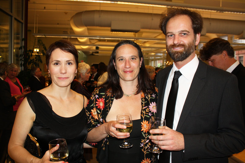 At the Art Honors, Emily Bruce, left, artist Tanja Hollander and Nat May, executive director of Space Gallery.