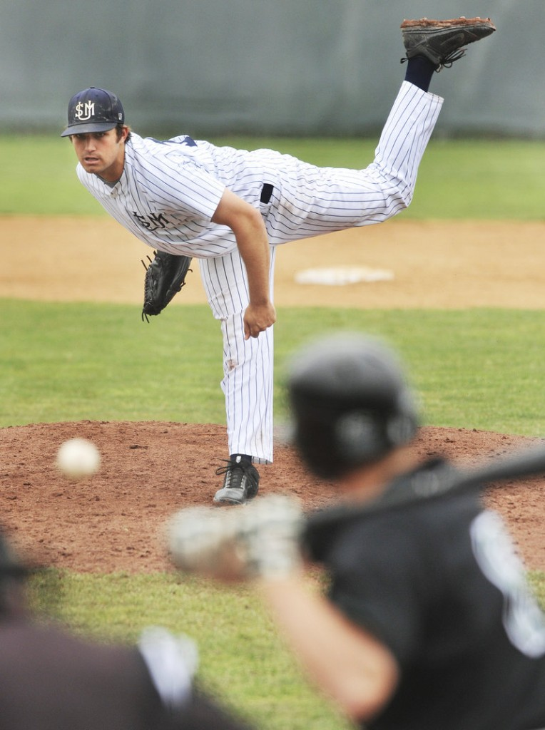 Logan Carman of Southern Maine delivers a pitch in Wednesday's first-round game in the Little East baseball tournament at Gorham. Plymouth State won, 3-2.